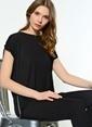 Fashion Friends Önü Kısa Arkası Uzun Bluz Siyah